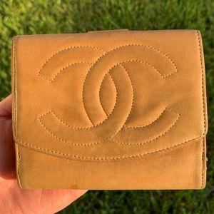 Authentic Tan Vintage Chanel Wallet